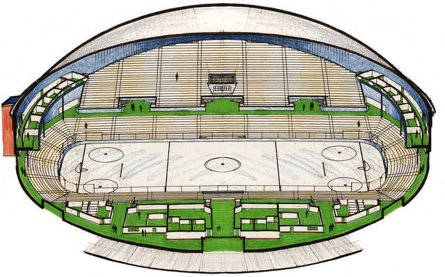 Hockey Arena Rendering — Monolithic Dome arenas are a paradigm shift in modern arenas. They are much more affordable to buy and operate.