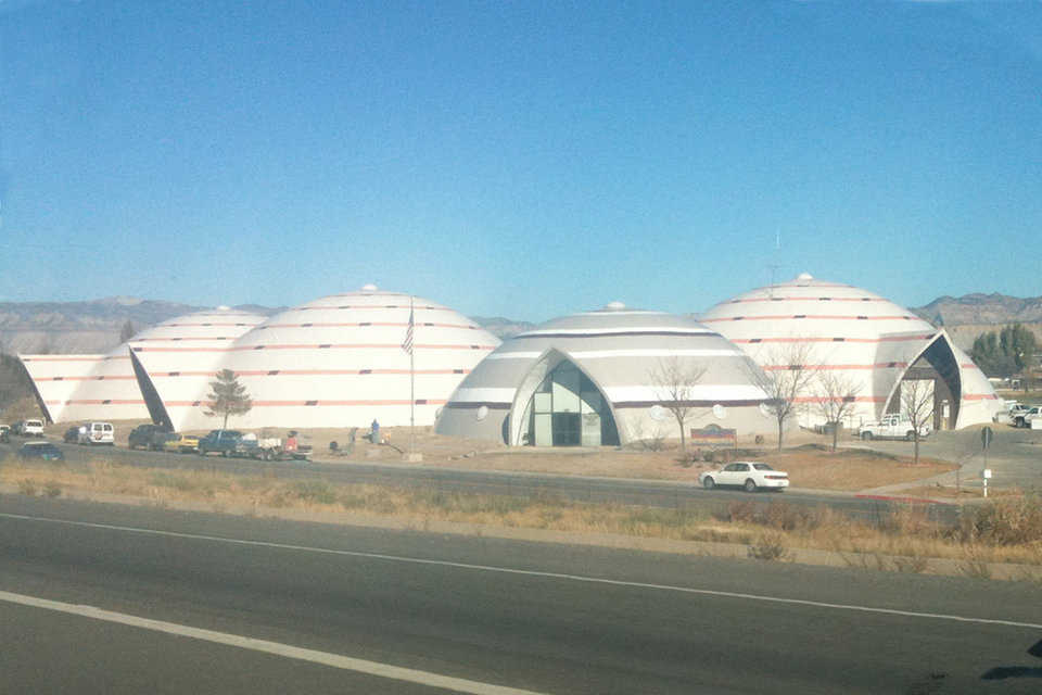 Four Interconnected Domes — They include the Administrative Offices, a three-story, 90′ × 40′ dome and three domes, each 130′ × 43′, that house the Fire Station, Equipment Shop and Storage Facility.