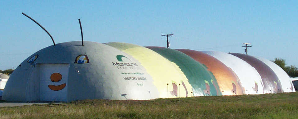 Bruco — Bruco, The Texas Italian Caterpillar in Italy, Texas (Monolithic Airform Manufacturing) was completely covered in metal cladding in 2001.