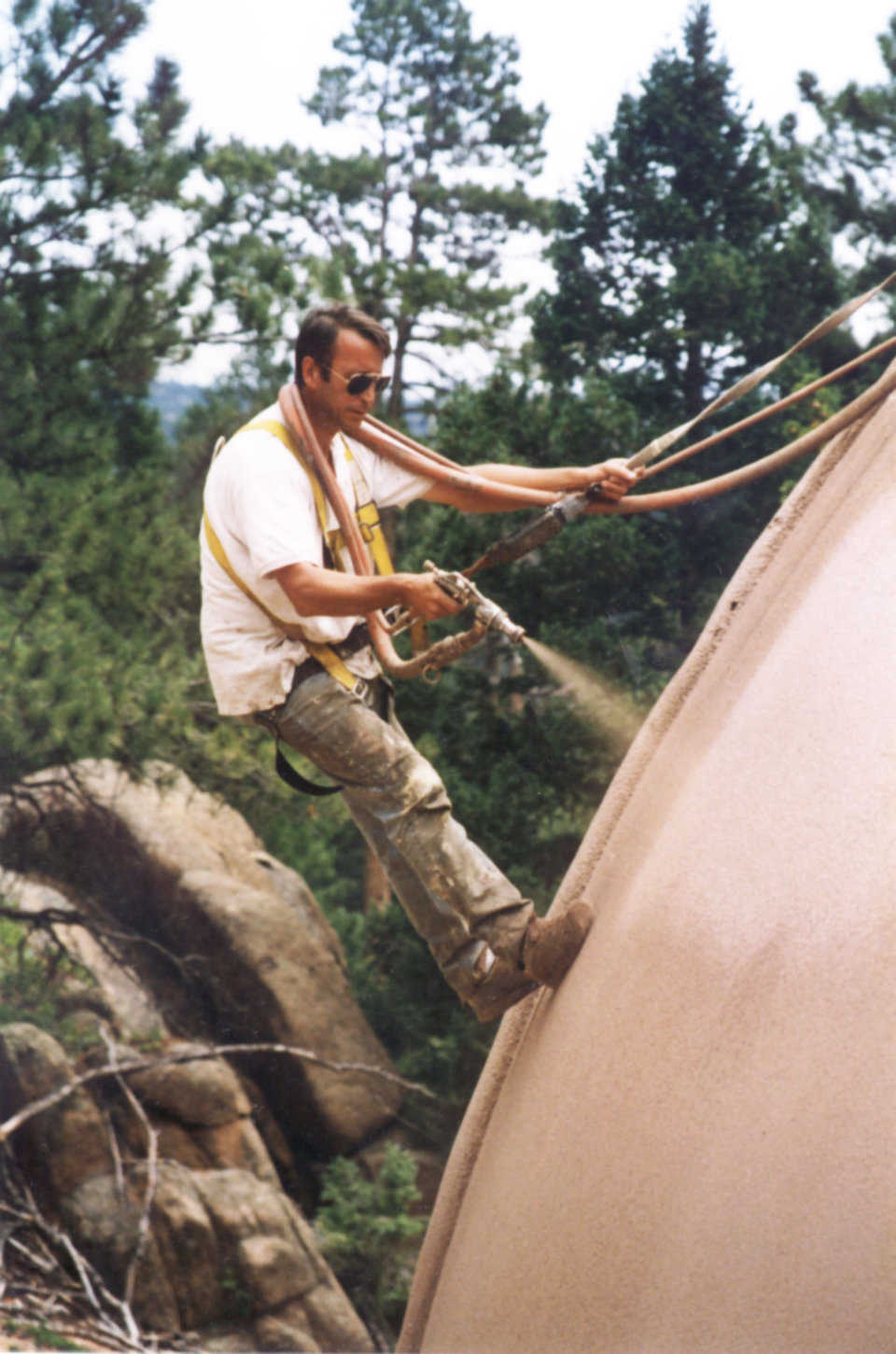 What A Job — UCSC spraying coating to dome exterior. Photo courtesy UCSC.