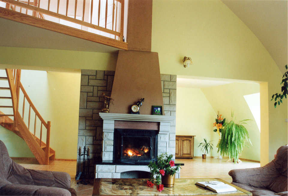 Cozy and warm — This centrally located fireplace keeps the entire dome home cozy and warm.