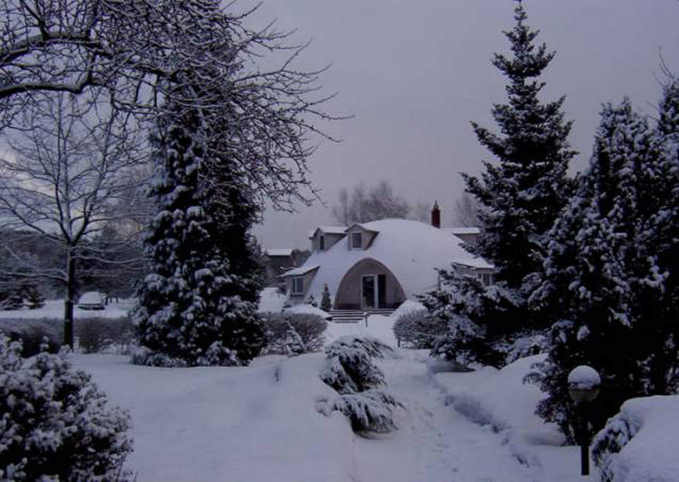 Winter scene — Their Monolithic Dome home keeps the Pregowski family comfortable even in Poland's very cold winter weather.