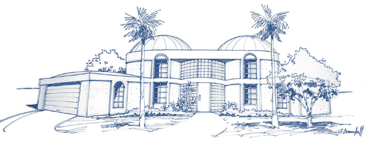 In our society, a home built with great detail increases the home's value. This illustration by Rick Crandall demonstrates four basic design principles which can be applied to any size and type of dome: Shadow and Shape, Color and Texture, Step-Down Massing, Landscaping.