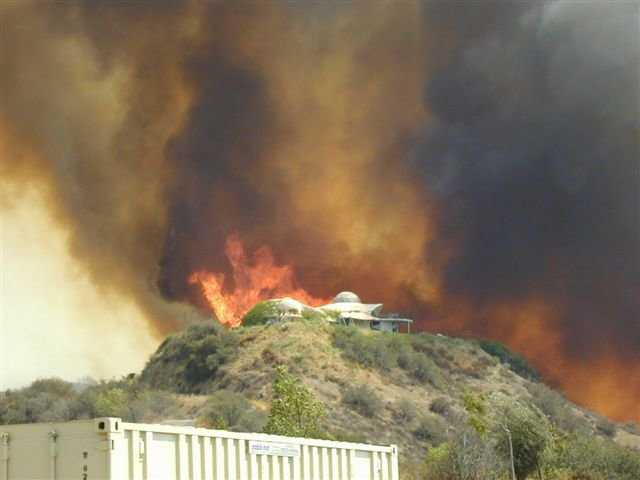 Bryant Fire — It endangered the communities of Calimesa and Yucaipa, California. The Braswells' Monolithic Dome home was in its direct path but received relatively little damage. A conventionally built home would have been completely destroyed.
