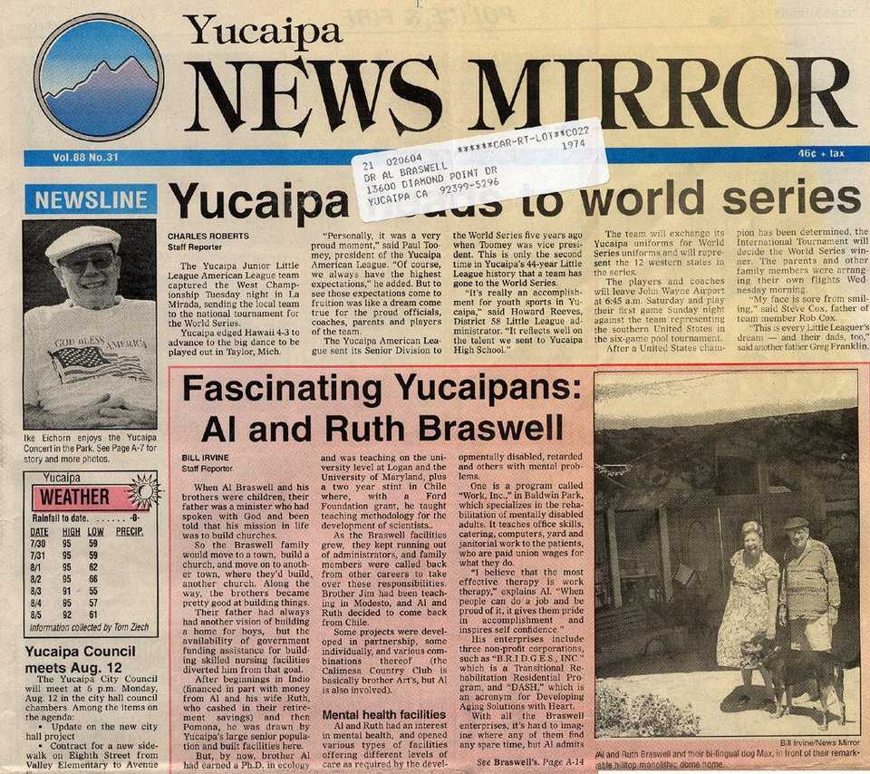 "In the News — The ""Yucaipa News Mirror"" reports on the Braswells and Vista Dhome"