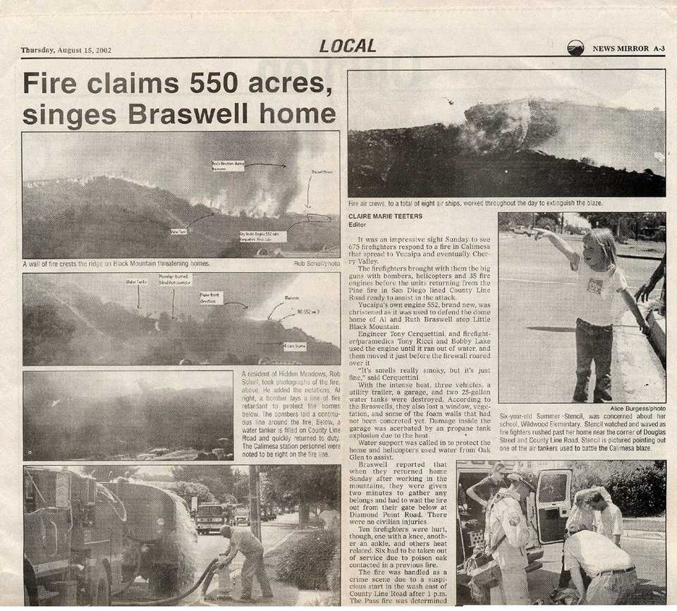"More Headlines —  ""The Press Enterprise"" covers the Bryant Fire."