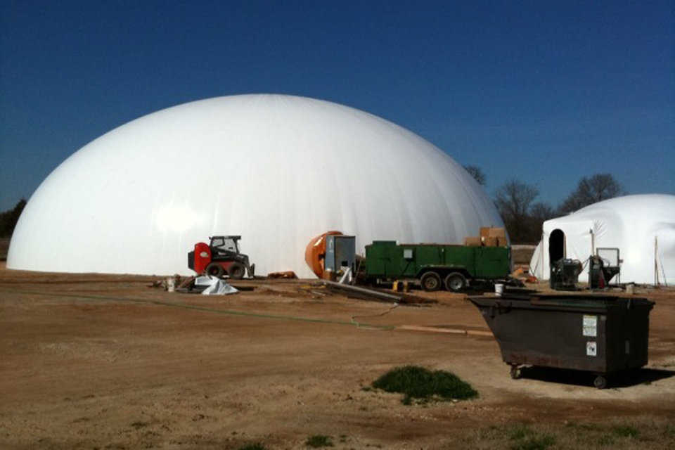 Eldorado Chemical Blend Plant — Located in Bryan, Texas the large dome is 95 feet in diameter and the smaller is 40 feet in diameter. The large dome has a 3000 ton capacity.