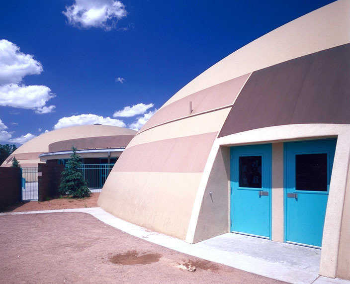 Frontier Elementary School — Three domes containing classrooms, a gymnasium, a media center, a music room, and a cafeteria make up Frontier Elementary School.