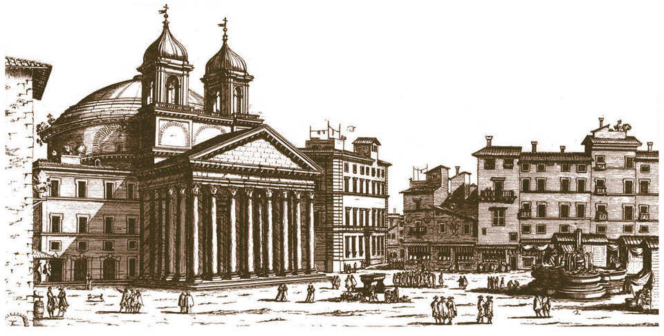 Pantheon – 17th Century — This drawing by Giovanni Battista Falda dates back to the late 17th century. The Pantheon was defined as a temple to all gods. Pope Urban VIII (1623-1644) added the two bell towers designed by Bernini. They were removed in 1833.