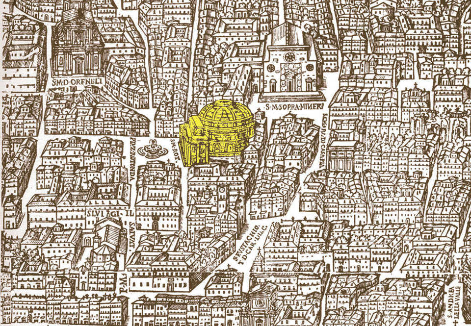 Map — A 1625 map by Giovanni Maggi shows the Pantheon within its environment.