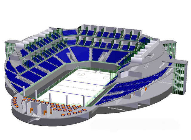 Hockey arena design — Indoor hockey arena with accommodating seating around three sides and a club/restaurant at one end. Suites and club seating included on the upper level. Locker rooms and offices located on the arena level.