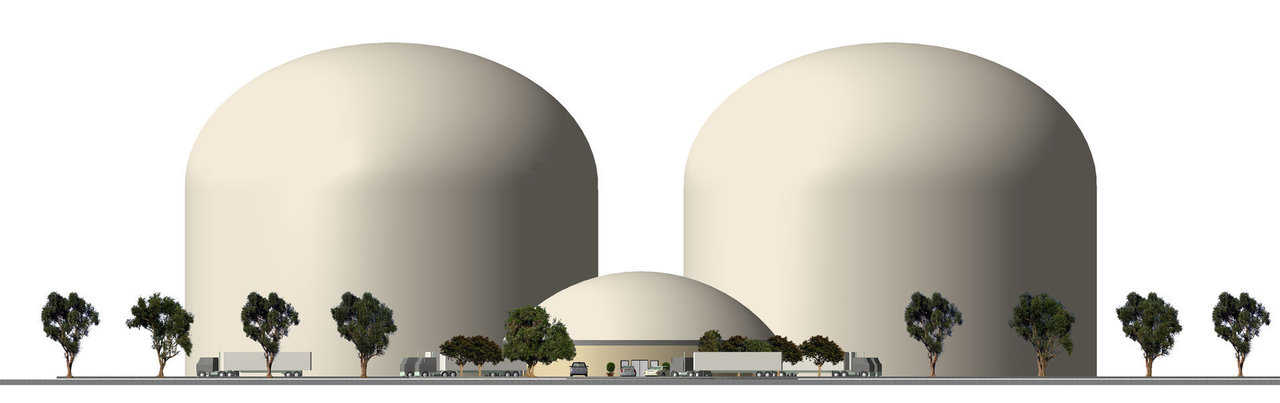 Monolithic Domes fitted with an automatic storage and retrieval systems. This system uses vertical cranes that moves laterally down the aisles. These cranes can be up to 200 feet tall. Just click the movie (in the middle of the article), to see what it looks like with the cut-away. www.asrs.net; www.engprod.com; pas-us.com