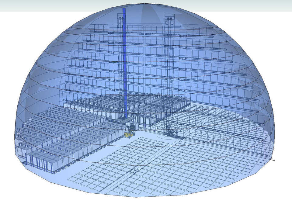 Advanages — This shows a hollow cut away of the PAS system in a Monolithic Dome. The PAS system has the advantage of being able to fit in any shape of a dome. www.pas-us.com