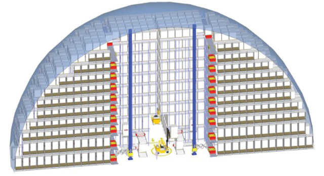 Cut-away — Monolithic Dome cut-away showing the storage of pallets utilizing an automated storage and retrieval system furnished by PAS. www.pas-us.com