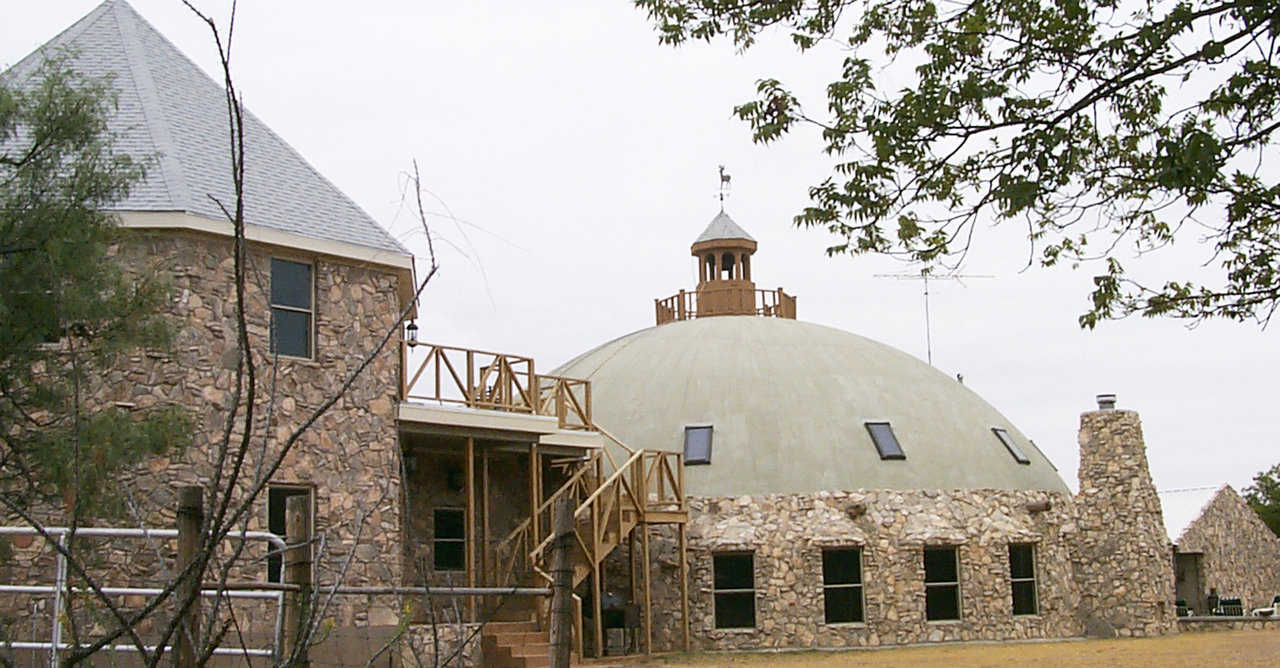 "Bonnie and Bill McLeod built their hunting lodge in Blackwell, Texas: a Monolithic Dome with a 60-foot diameter, a 30-foot height, two stories, and 5200 square feet of living space that they named ""our Dome on the Range""."