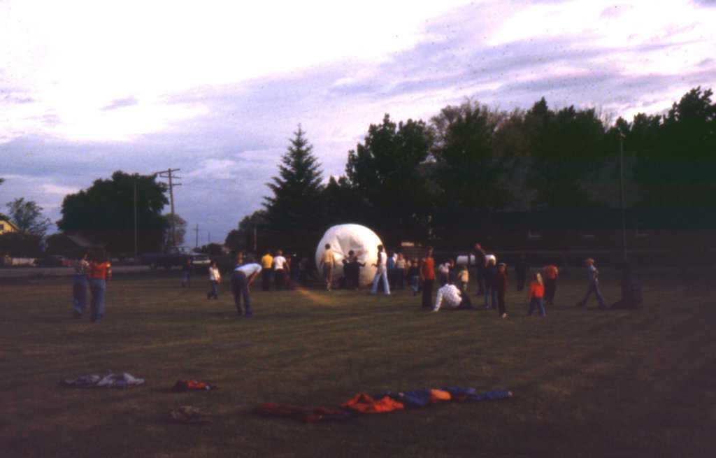 THE Game! — A game of OMEGAball in full swing at the 4th of July celebration in Menan, Idaho. (1980). This ball was partially deflated at this point in the game. It is always best to play with a fully inflated ball.