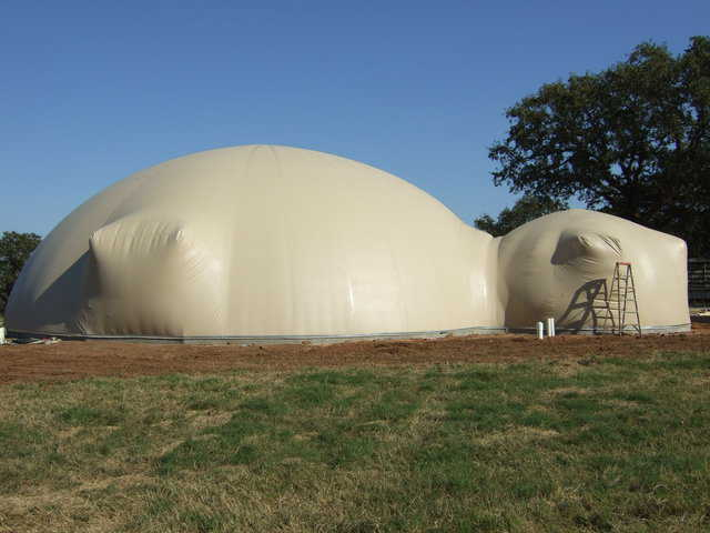 Done! — This properly inflated Airform will determine the size and shape of a Monolithic Dome.