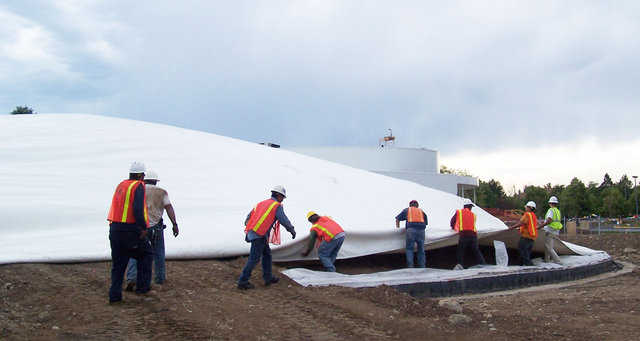 A Monolithic Dome Airform — It's a highly engineered fabric structure that must be handled with great care — especially while the Airform is being transported, spread, attached and inflated.