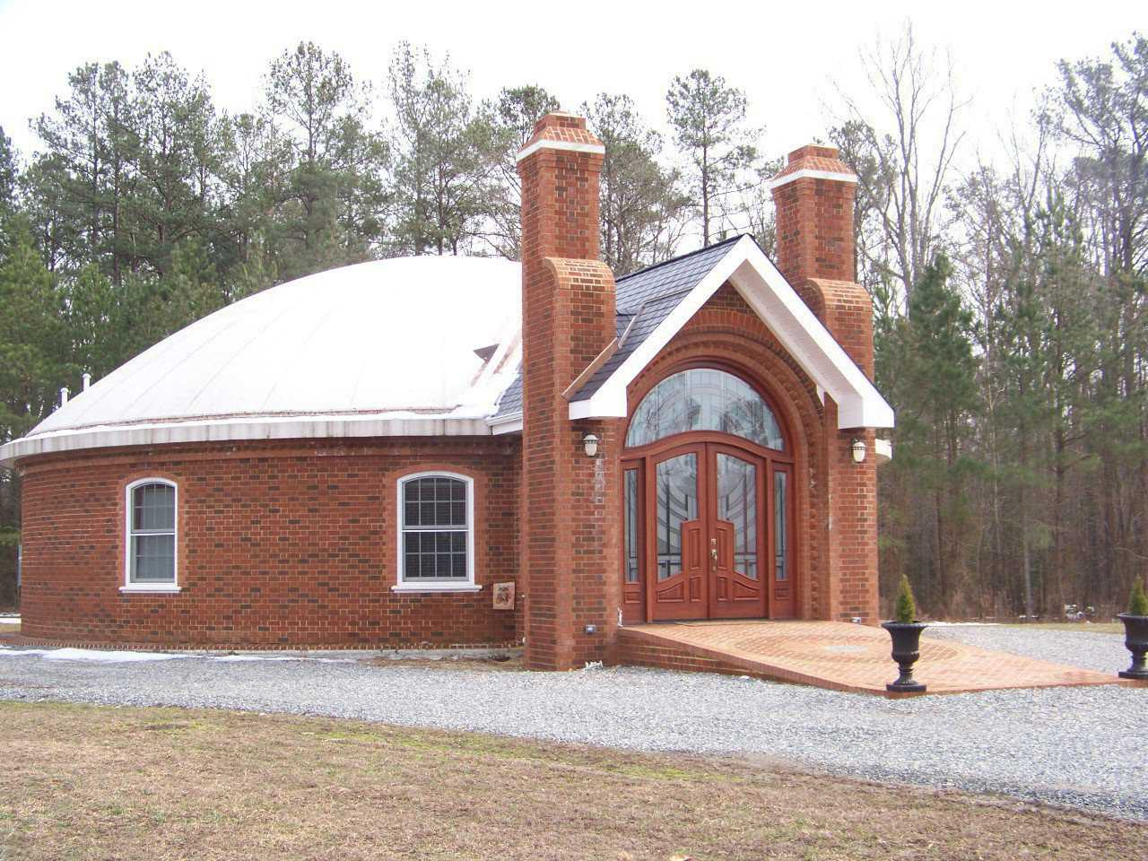 Sty Manor — Joel Emerson and his dad, both creative, professional, master brick masons, designed this dome home encased in brick.