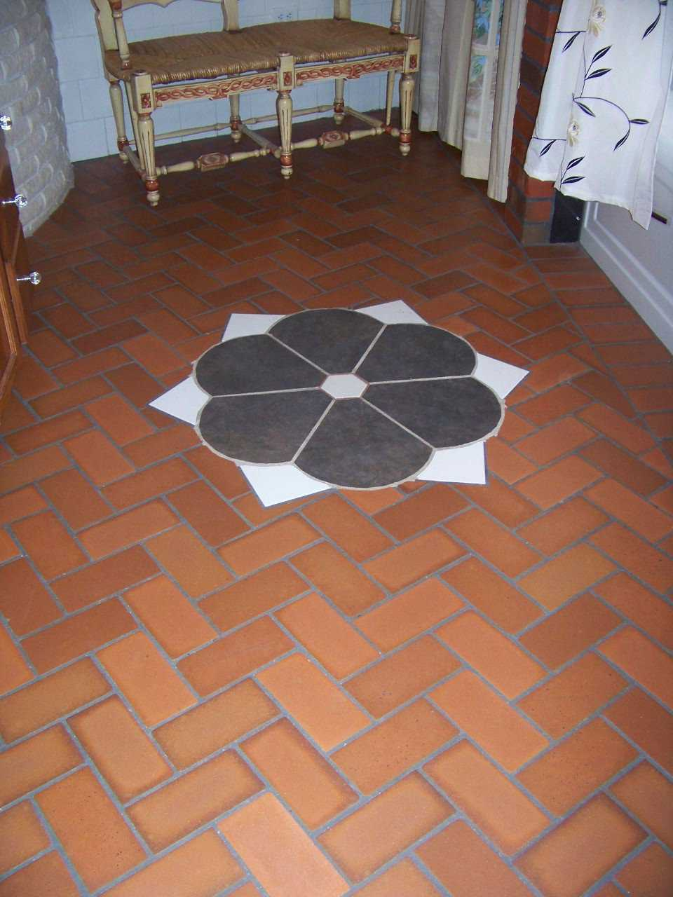 Unique! — Joel enhanced the brick floors with unusual, creative patterns.
