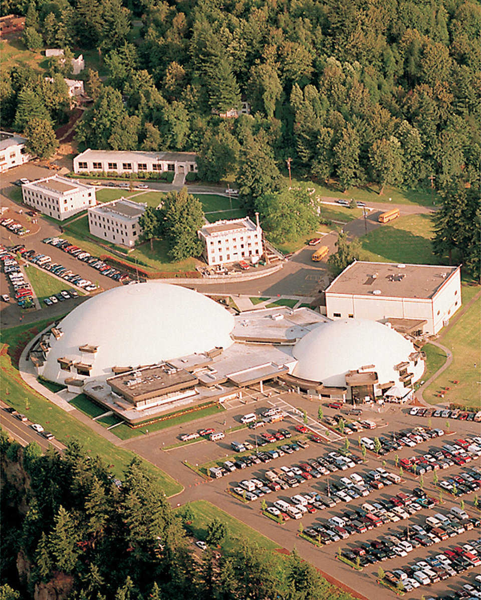 Aerial View — Built on a butte and clearly visible by people driving or flying into Portland, City Bible Church has become somewhat of a landmark.