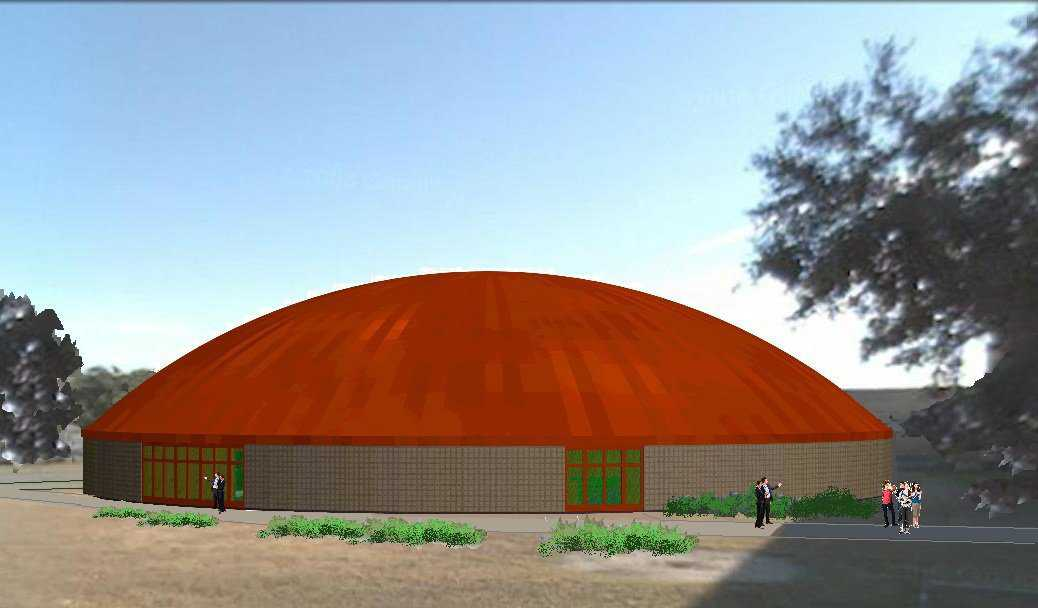 Architect's rendition of Woodsboro's dome — Architect Lee Gray, of Salt Lake City, UT, deigned Woodsboro's multipurpose center that will serve as a school and community disaster shelter. Its 18,376 square feet can shelter 2,625 people. Woodsboro received a FEMA grant of $1.5 million to help with its construction.