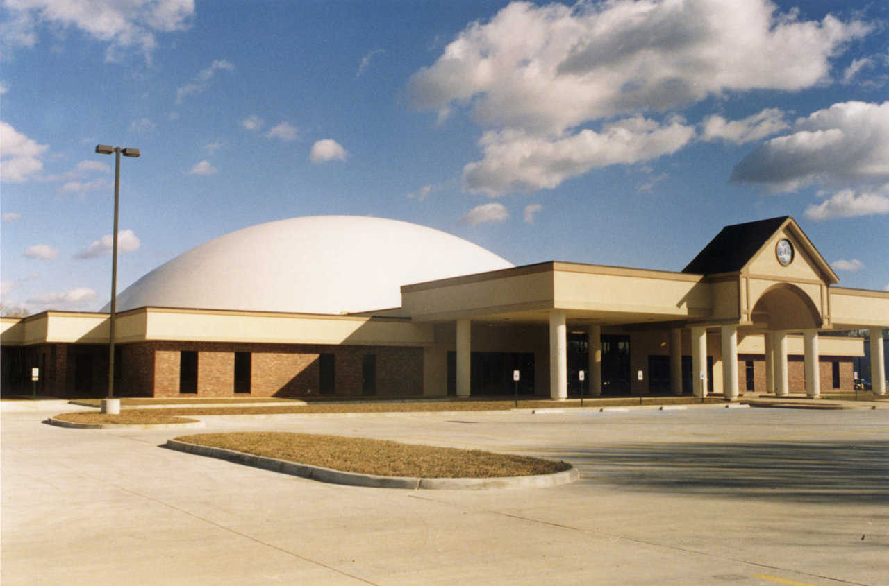 Abundant Life Church — This Monolithic Dome church has a diameter of 192 feet and a finished interior of 65,000 square feet.  Built in 1997 in Denham Springs, LA, this church was completed for approximately $4,000,000.