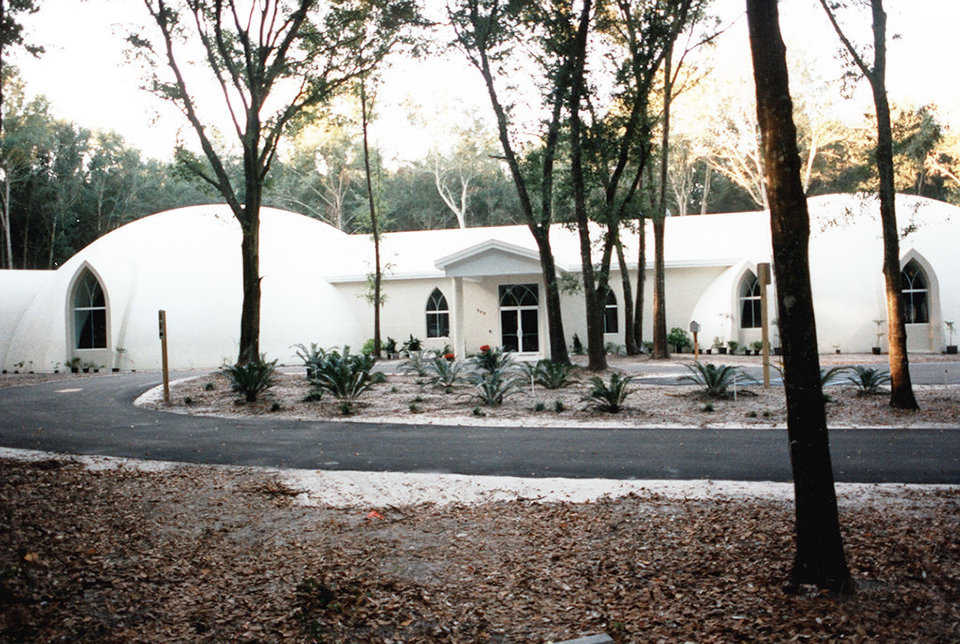 Pilgrims United Church of Christ — Parishioners describe their Monolithic Dome church as a sanctuary nestled in the woodlands of Fruitland Park, Florida.