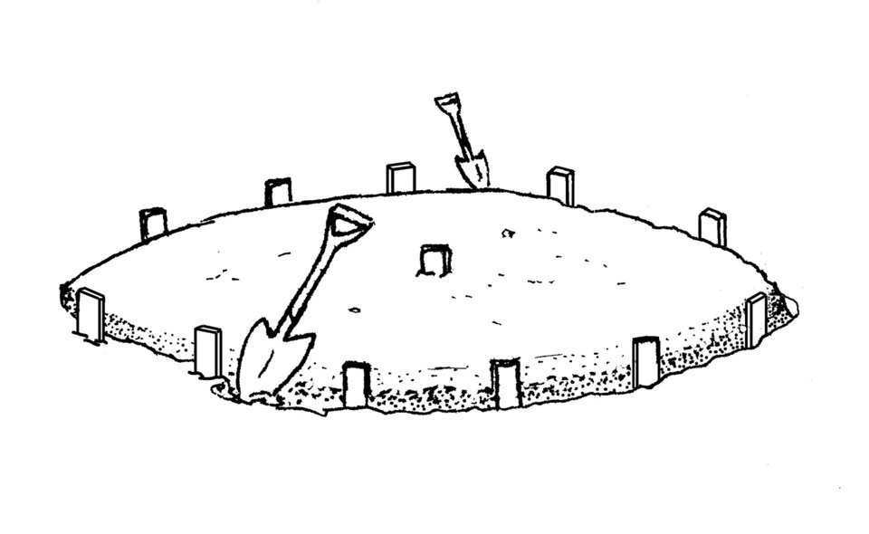 "Step 2A – Dig Trench — Dig a footing trench approximately 8"" x 8"" (20 cm x 20 cm) on the inside of the perimeter stakes."