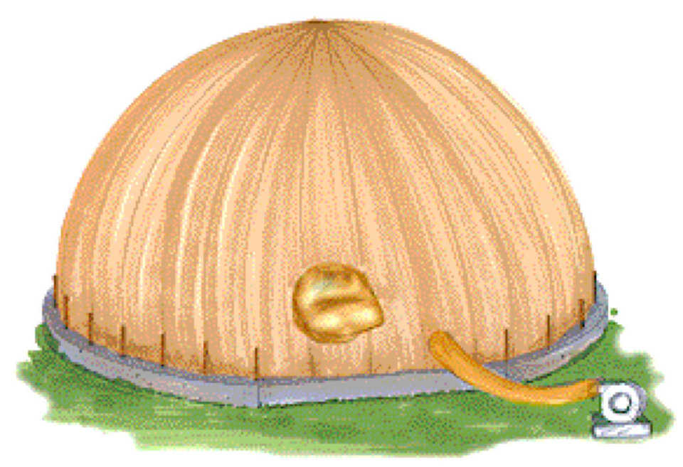 Step 3B – Inflation — Using blower fans, the Airform is inflated. This creates the dome shape of the structure.