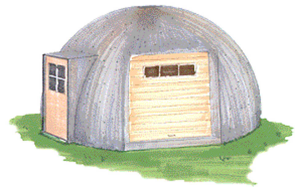 Step 5B – Complete — Remove Airform after the concrete is set. Now that the shell is finished, hang doors, windows and vents. The EcoShell can be used as is or it may be roof-coated – preferably white to reflect heat.