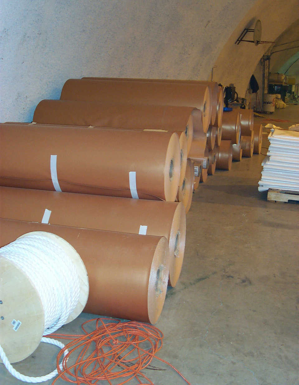 Airform fabrics — Monolithic has special fabrics shipped to Bruco from all over the world. Bruco safely stores massive rolls.
