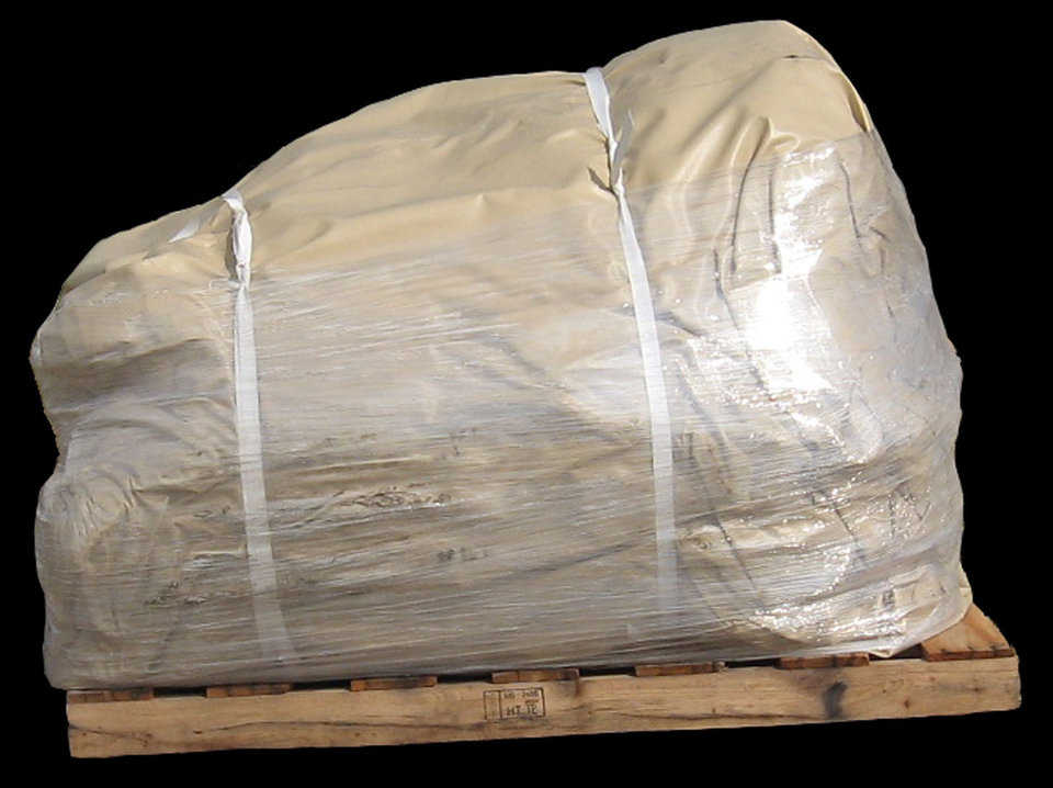 Going my way? — The shipment process includes properly folding an Airform and covering it with scrap fabric and shrink wrap.