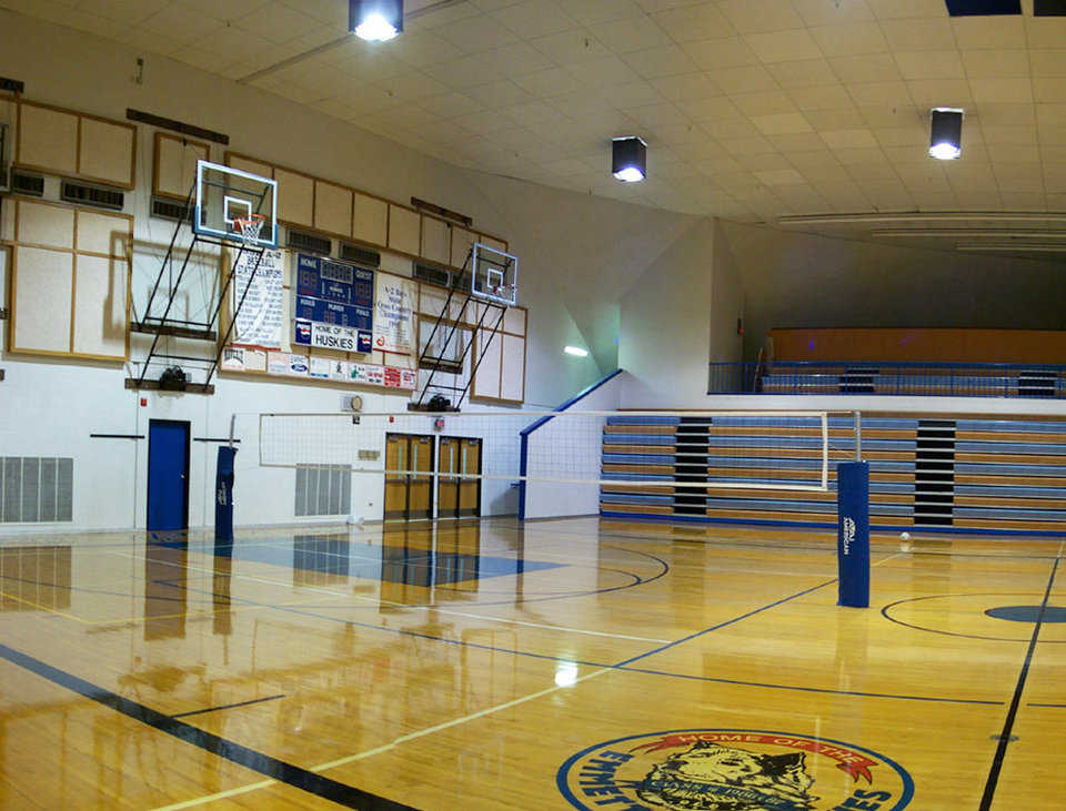 Gymnasium — This double-wide gym can seat 3,000 for graduation ceremonies. It also has a weight room, wrestling room, locker rooms, offices, concessions and a 350 seat theater.