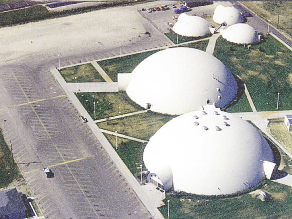 Aerial View — School officials chose Monolithic Domes because they offered a reasonably priced, authentically unique alternative to so-called stick-frame buildings.