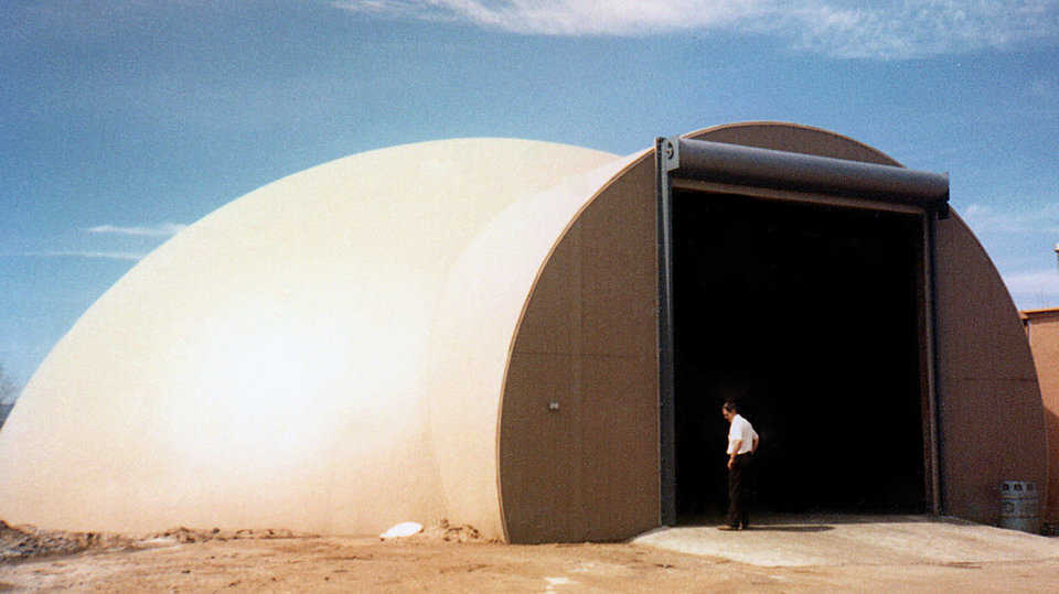 Salt Storage – Colorado Department of Highways — Monolithic has designed and constructed many domes for salt storage. They successfully withstand front-end loaders banging around inside, and when properly treated they resist salt's damaging effects.