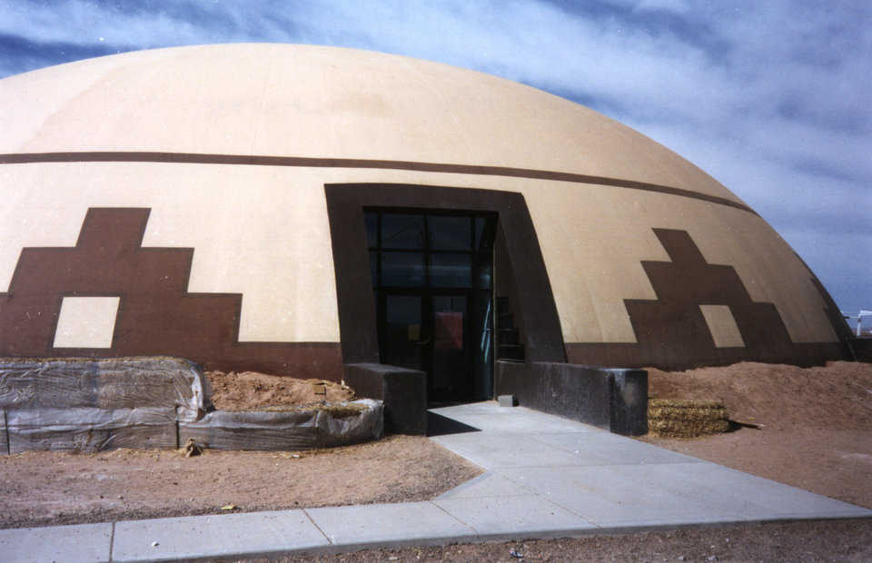 Traditional Decor — Entrances to the Monolithic Domes are enhanced with traditional Native American patterns.