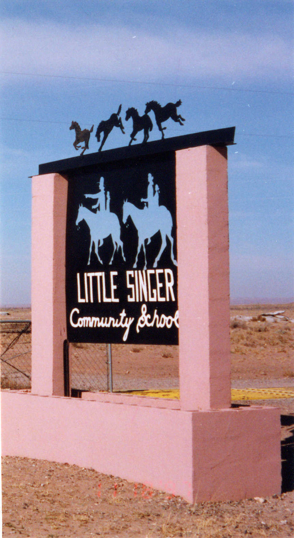 Artsy Entrance — This school was named after Little Singer, a Navajo Medicine Man, who urged the community to build a school.