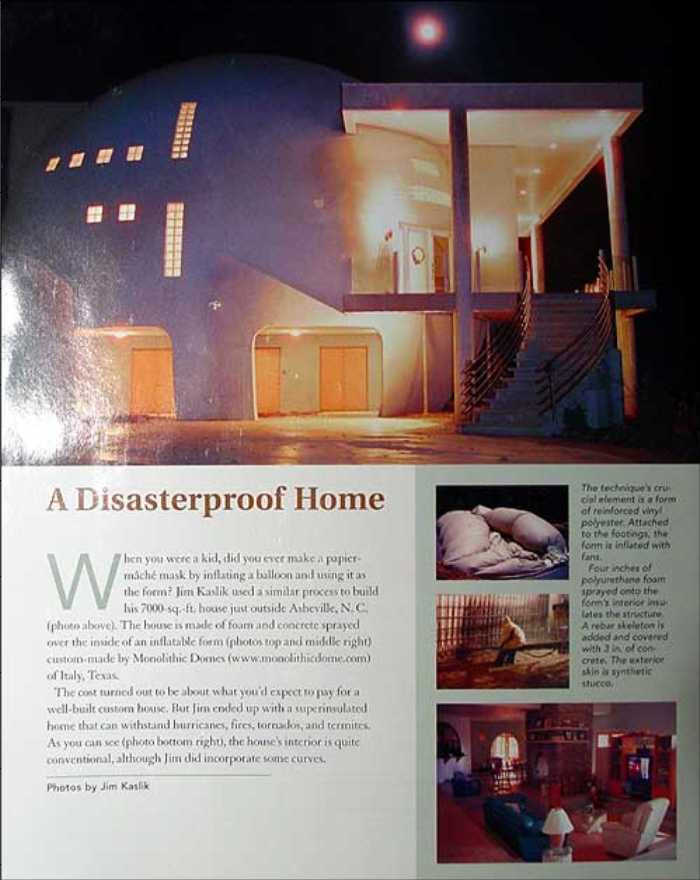 On the cover — In its Aug/Sep 2003 issue, Fine Homebuilding Magazine did a feature article and devoted its back cover to Cloud Hidden, as a Monolithic Dome dream home.