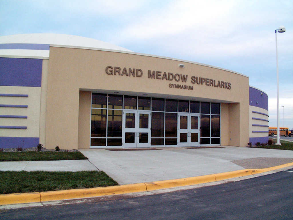 Home of the Superlarks — For its 400 students and 30 teachers, Grand Meadow's approved plan included five Monolithic Domes: 81,000 square feet for classrooms, media center, gymnasium, cafeteria and multipurpose center with a stage.