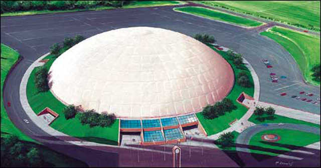 Crenosphere Rendition  — This 400-foot Crenosphere could house an indoor football field. Rick believes that Crenospheres are the next logical stretch in the evolution of Monolithic Domes.