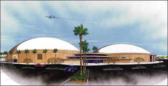 Sports Complex — Rick designed this Monolithic Dome facility as a hockey and multipurpose sports event complex.
