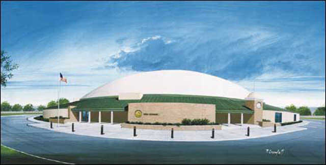 High School — Rendering of a 150-foot-diameter high school for approximately 450 students. Cafeteria and gymnasiums are centrally located and classrooms surround the perimeter. This rendering has been the catalyst for two completed Monolithic Dome projects.