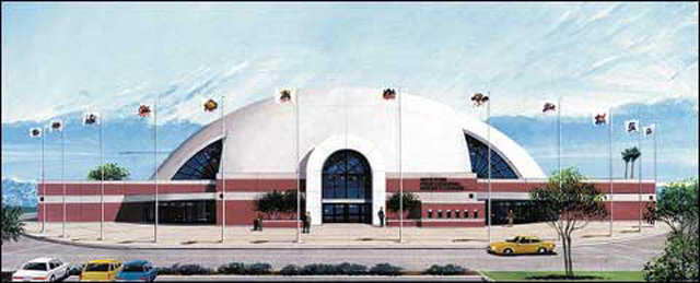 Giant Hockey Arena — This Monolithic Dome hockey arena can accommodate 8,000 spectators.
