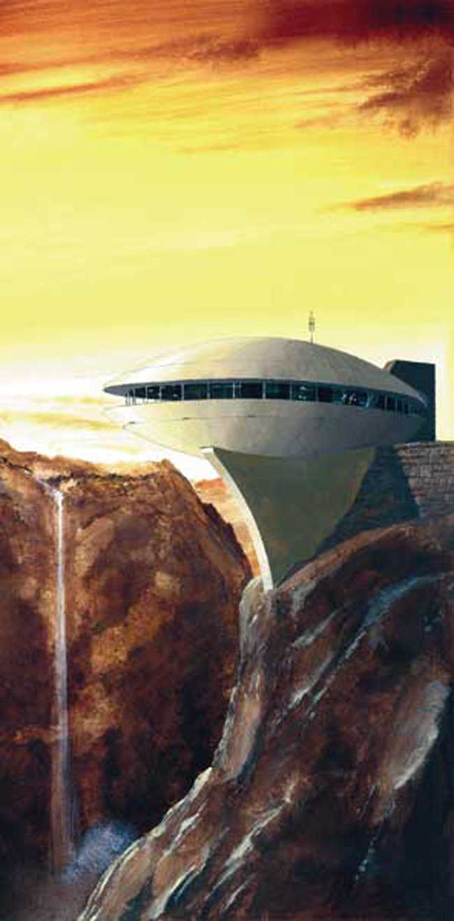 Dome on a Cliff — Can you really build that? This dome was designed on a cliff as a visitors center for a state park in Wyoming. It has not been built, but it is possible! This rendering was originally published on the cover of the Fall 1998 Roundup and quickly became our most popular issue.