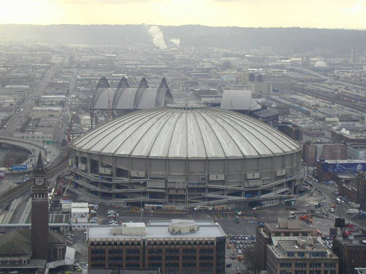 Kingdome — Seattle, Washington — A $67-million concrete multipurpose stadium, the Kingdome's seating was designed for football and opened with a soccer match on April 9, 1976.