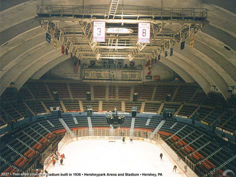 Hershey Park Arena—Hershey, Pennsylvania  — Hershey Park Arena, with seating for 7,350, has been home to hockey since its construction.