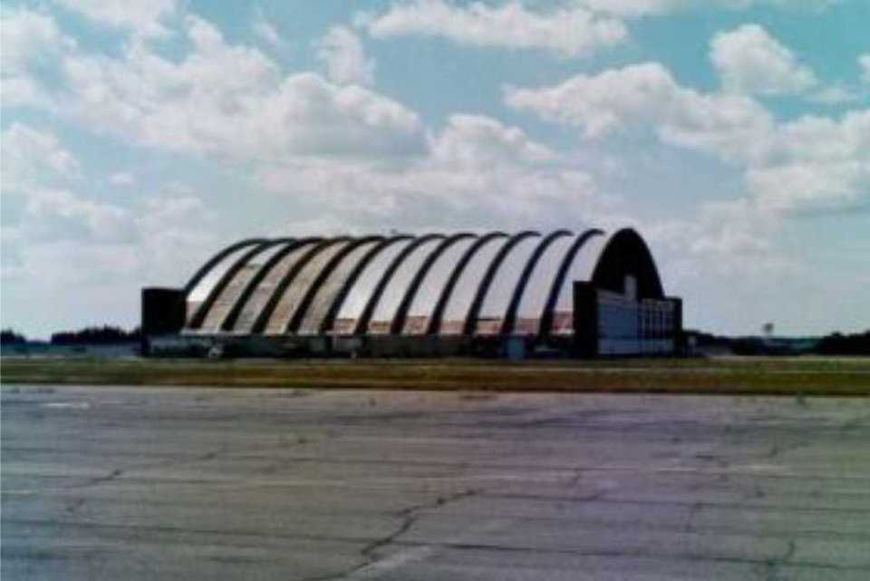 Loring AFB Aircraft Hangar—Limestone, Maine — This structure is a parabolic arch with a span of 340 feet.