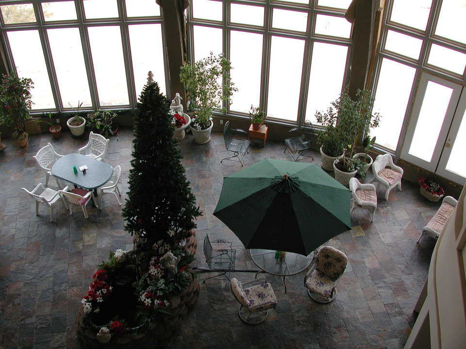 Christmas preparations — Atrium is decorated for the holidays.