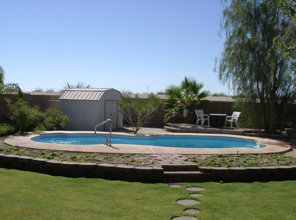 Pool — The roundness of the pool complements the roundness of the dome.